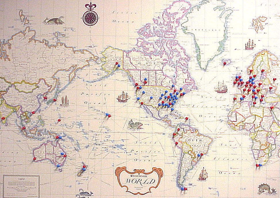 world map with location pins