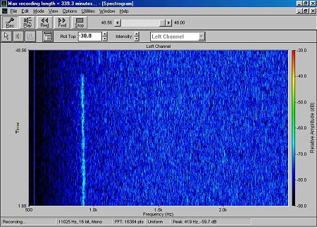 K5JL 1296 MHz EME signal, received by N6TX